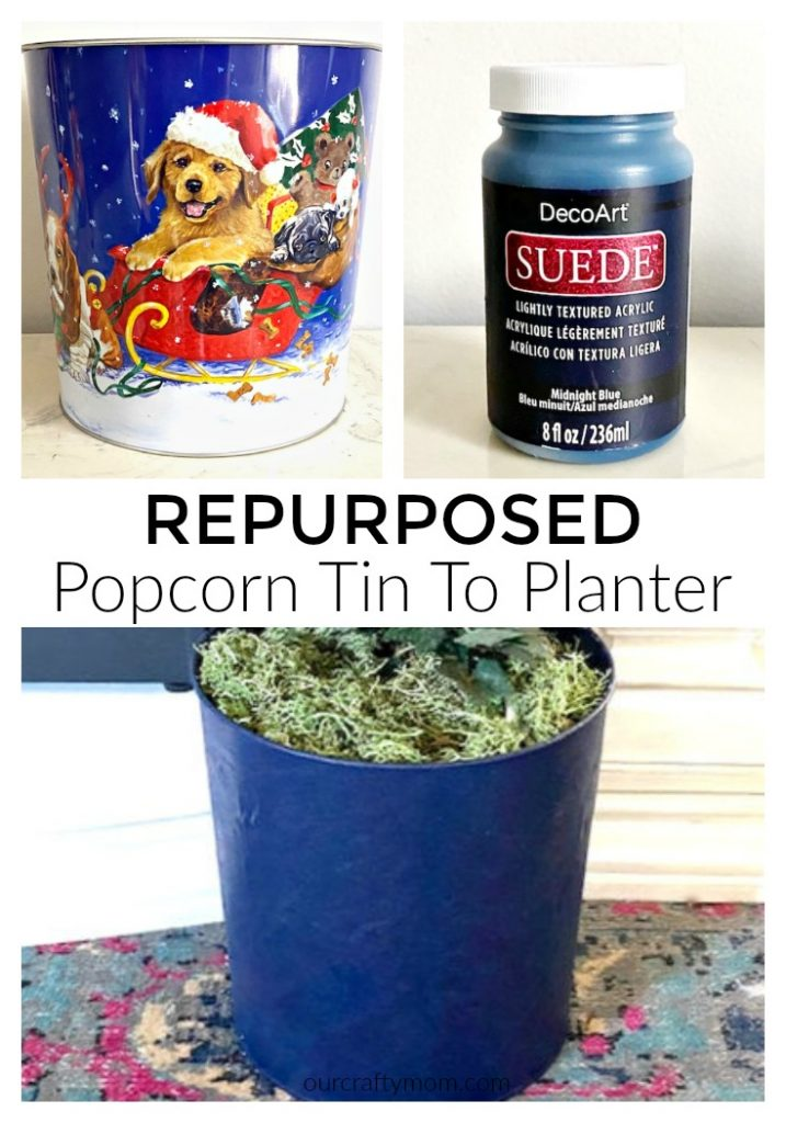 Repurposed Popcorn Tin To Planter