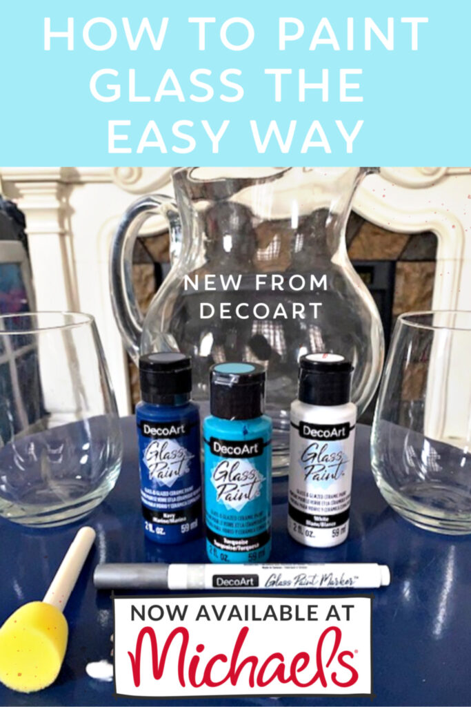 decoart glass paint supplies for wine glasses shown on blue table