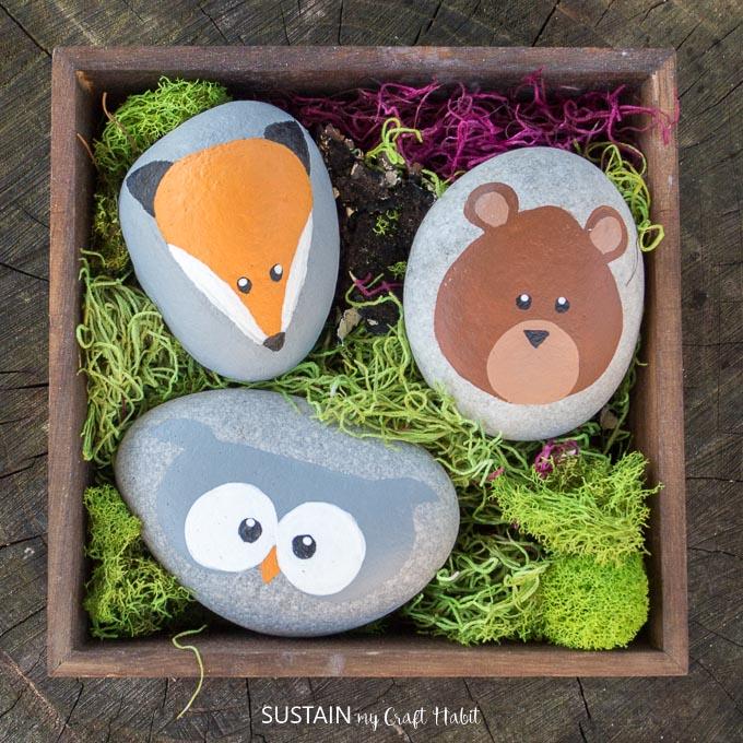 Rock Painting Woodland Animals