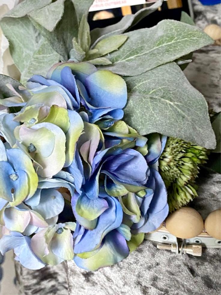 blue flower on hoop wreath