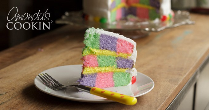 Checkerboard Cake: the perfect colorful cake for Easter!