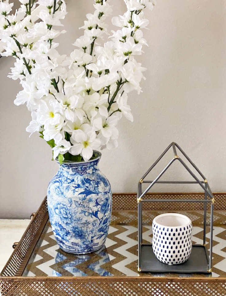 DIY chinoiserie vase on tray