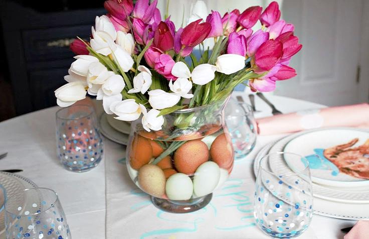 close up of Easter vase