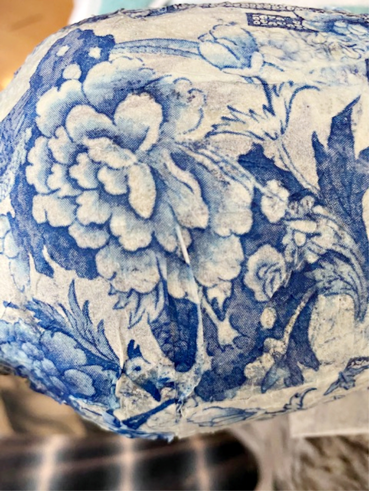 close up of chinoiserie on vase