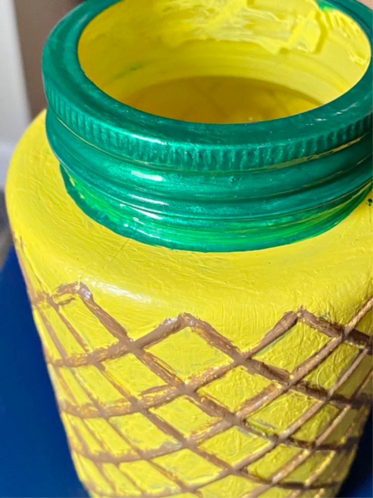 close up of pineapple jar