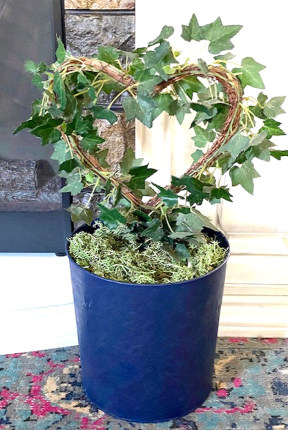 ivy plant in faux suede planter