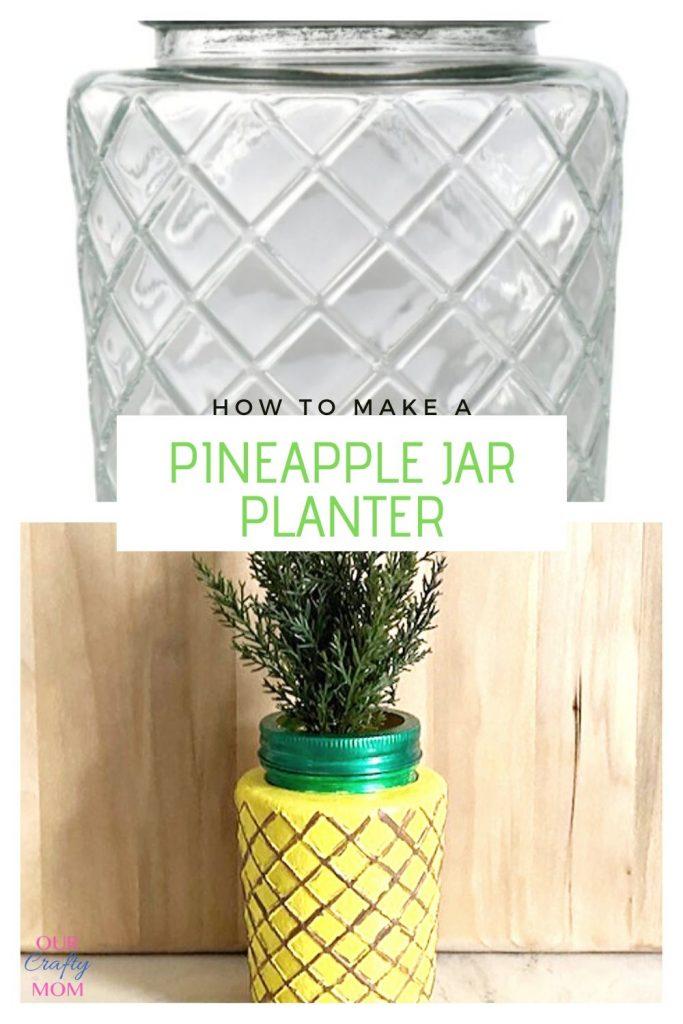 diy dollar store pineapple planter collage
