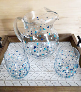 painted glass pitcher and wine glasses