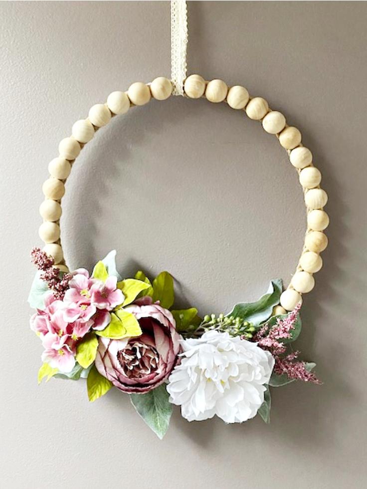 split wood bead floral wreath
