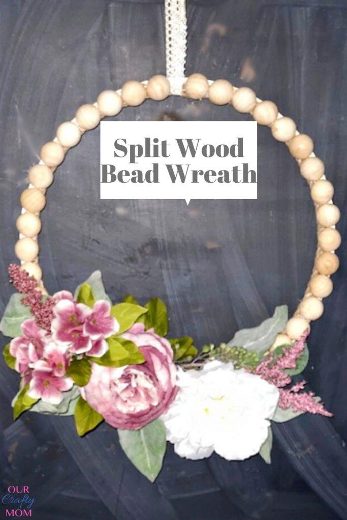 diy split wood bead wreath on chalkboard