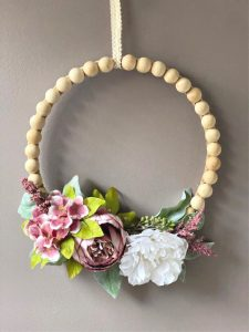 wood bead diy spring wreath