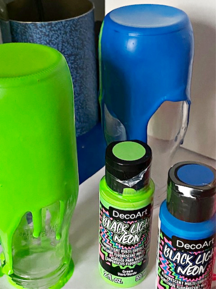 Starbucks bottles painted green and blue