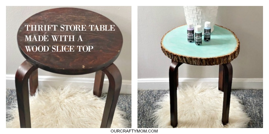 Thrift store table with wood slice top