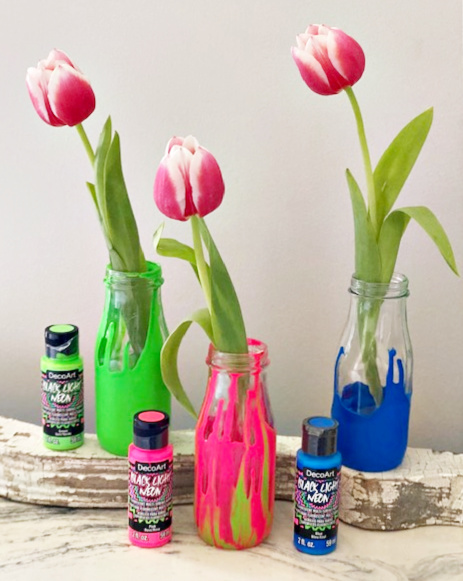 paint dipped jars with tulips