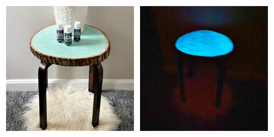 glow table in light and dark