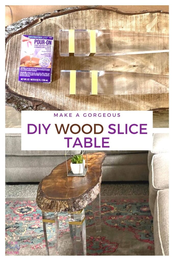 Collage diy wood slice table