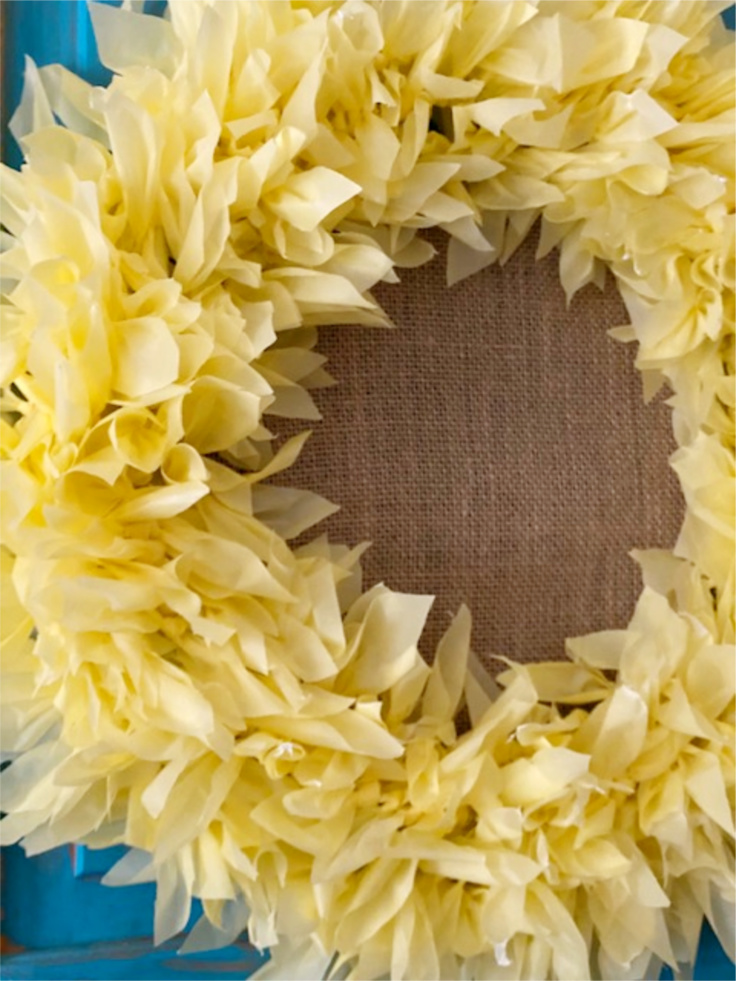 side view of sunflower wreath