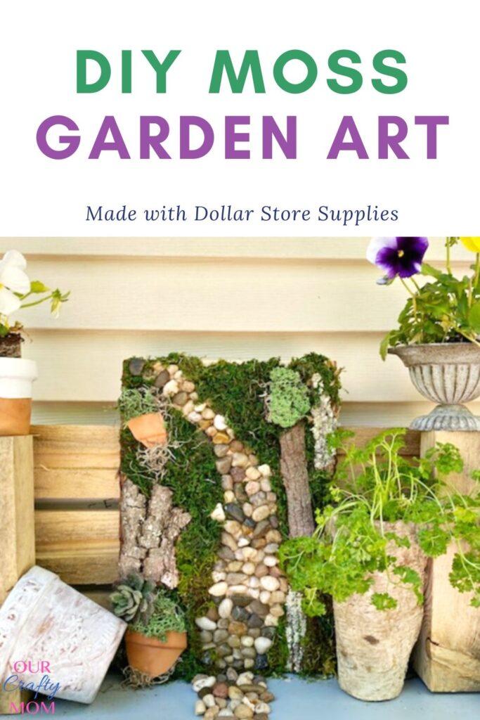 dollar store diy moss garden art