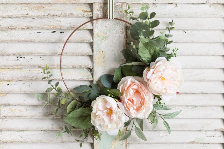 Easy spring hoop wreath DIY, Peonies and eucalyptus