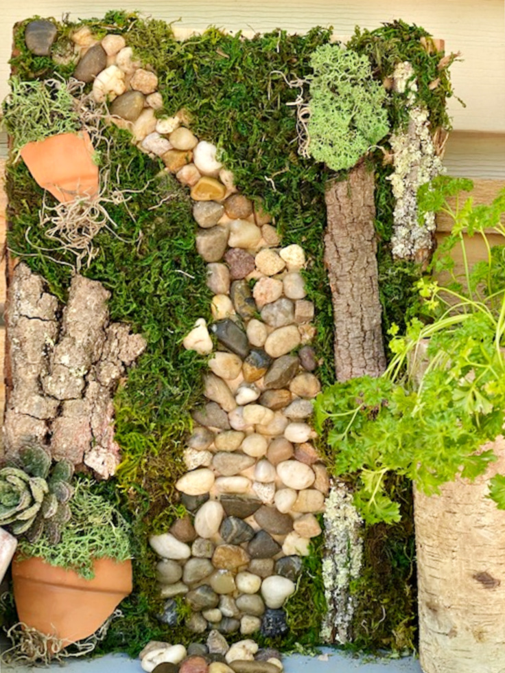 close up of moss garden art