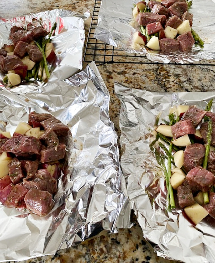 four steak foil packets