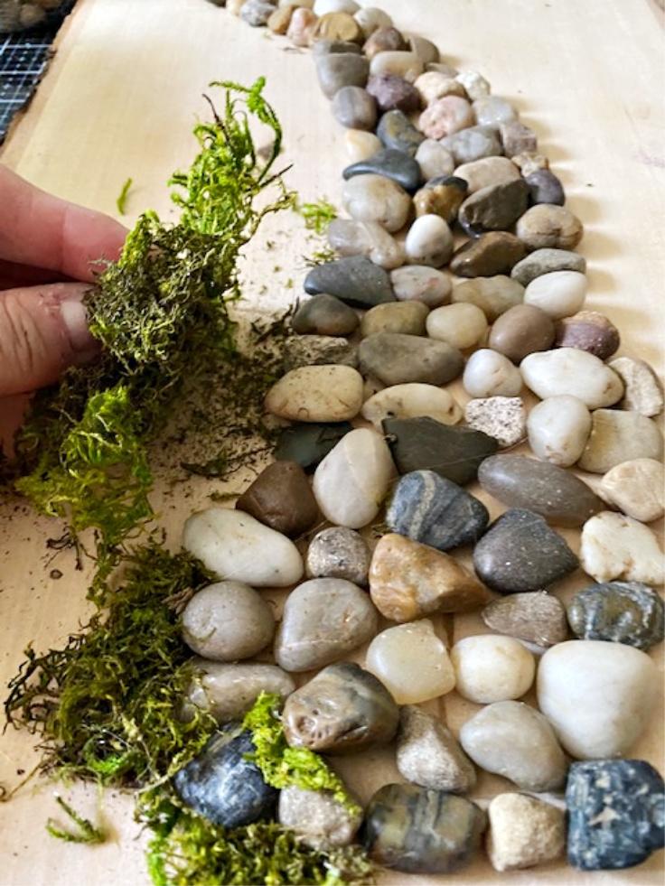 garden art with moss