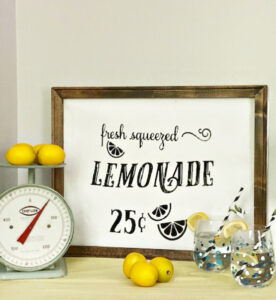lemonade sign with lemons