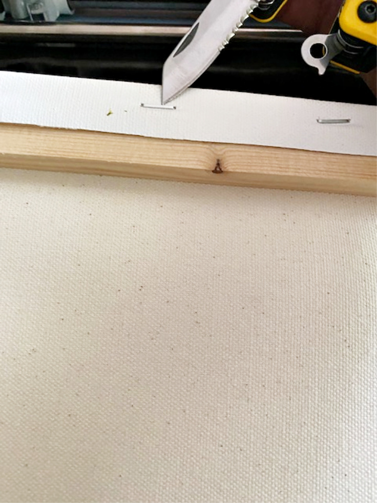 removing nails from canvas