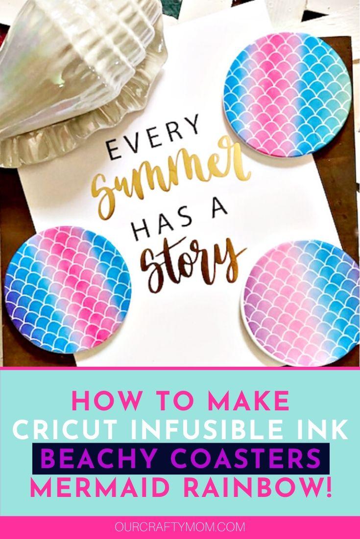 Cricut infusible ink mermaid rainbow coasters