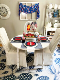 room view of patriotic tablescape