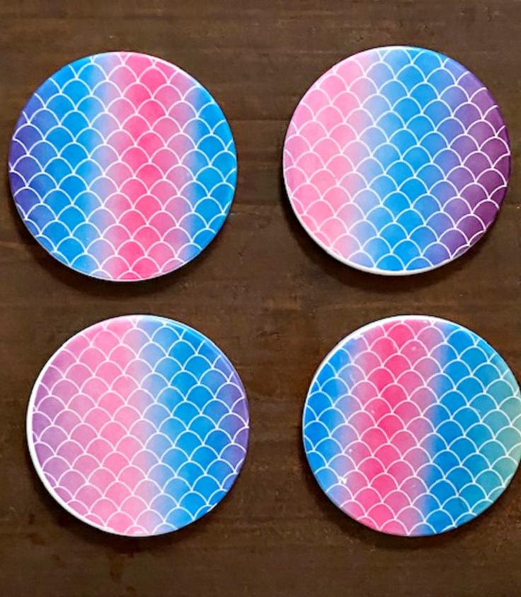 mermaid rainbow coasters