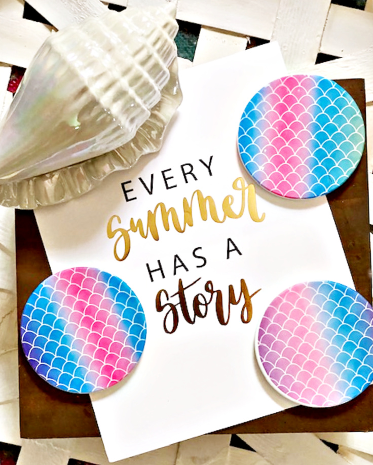 set of 3 cricut infusible ink coasters with mermaid rainbow
