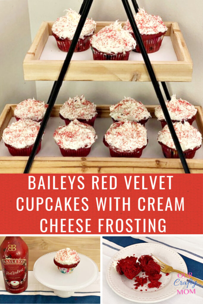 baileys red velvet cupcakes on tiered tray
