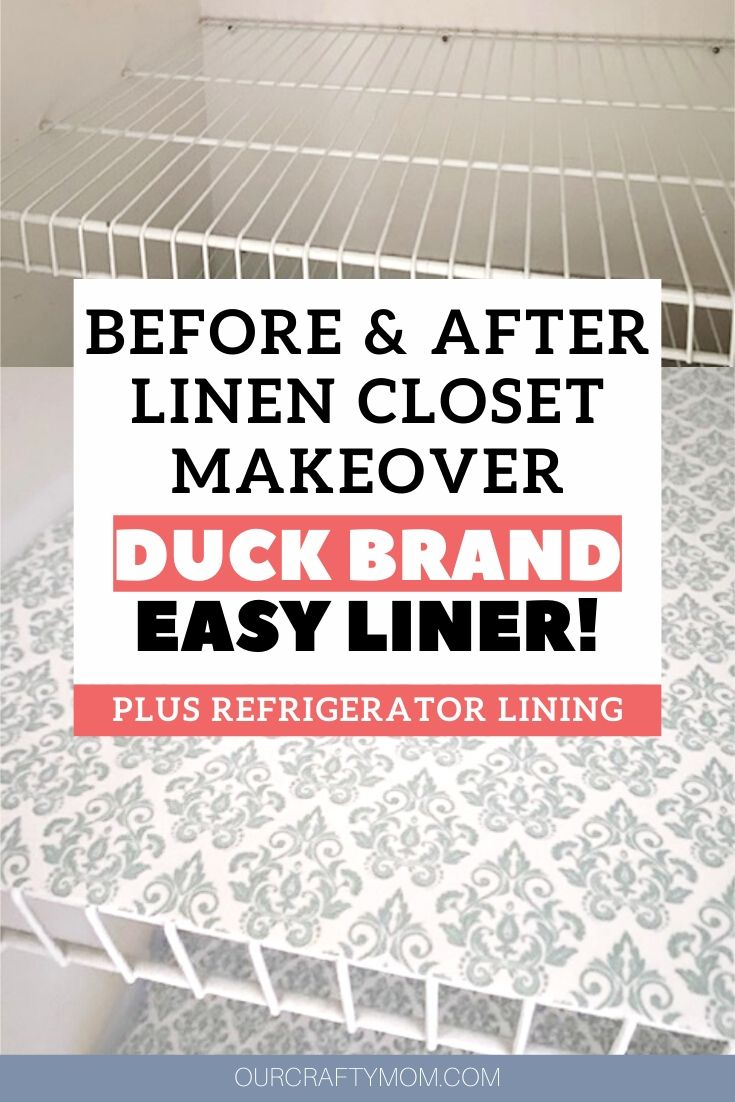 linen closet makeover with duck brand fabric lining