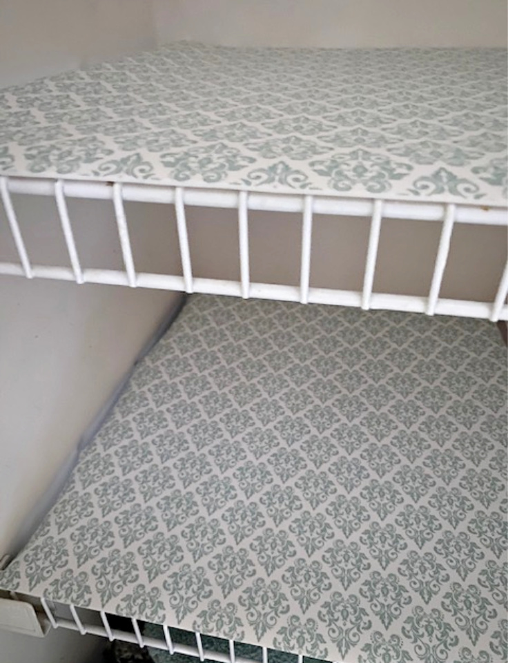 wire shelves with duck brand liner