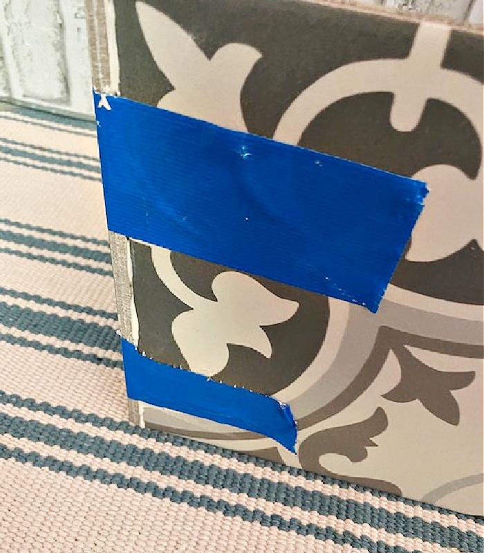 painters tape on ceramic tile