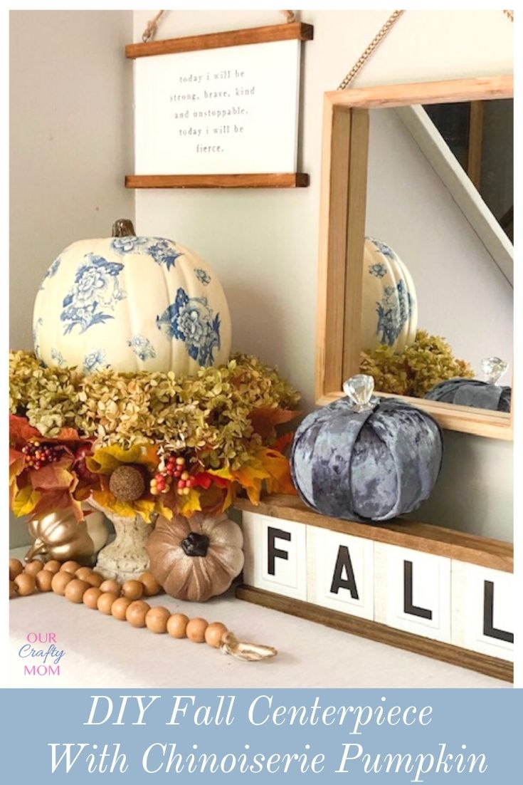 diy chinoiserie pumpkin fall centerpiece with hydrangeas
