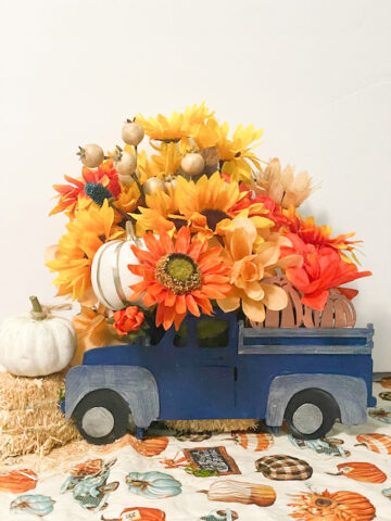 blue fall truck centerpiece