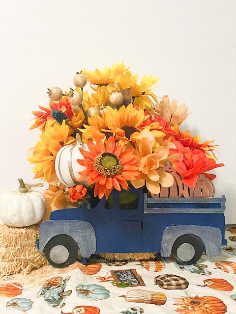 blue fall truck centerpiece