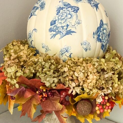 close up of diy chinoiserie pumpkin