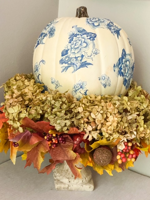 close up of chinoiserie pumpkin diy