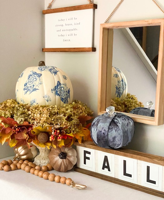 chinoiserie pumpkin diy centerpiece