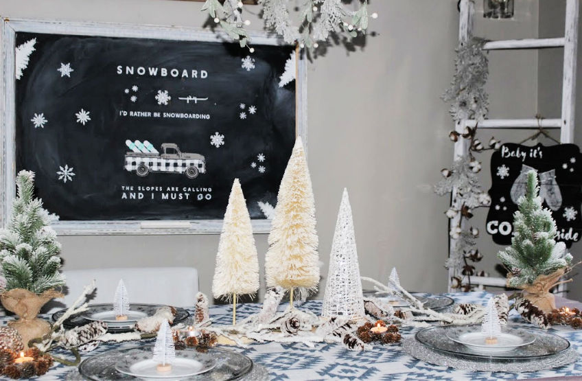winter tablescape with chalkboard