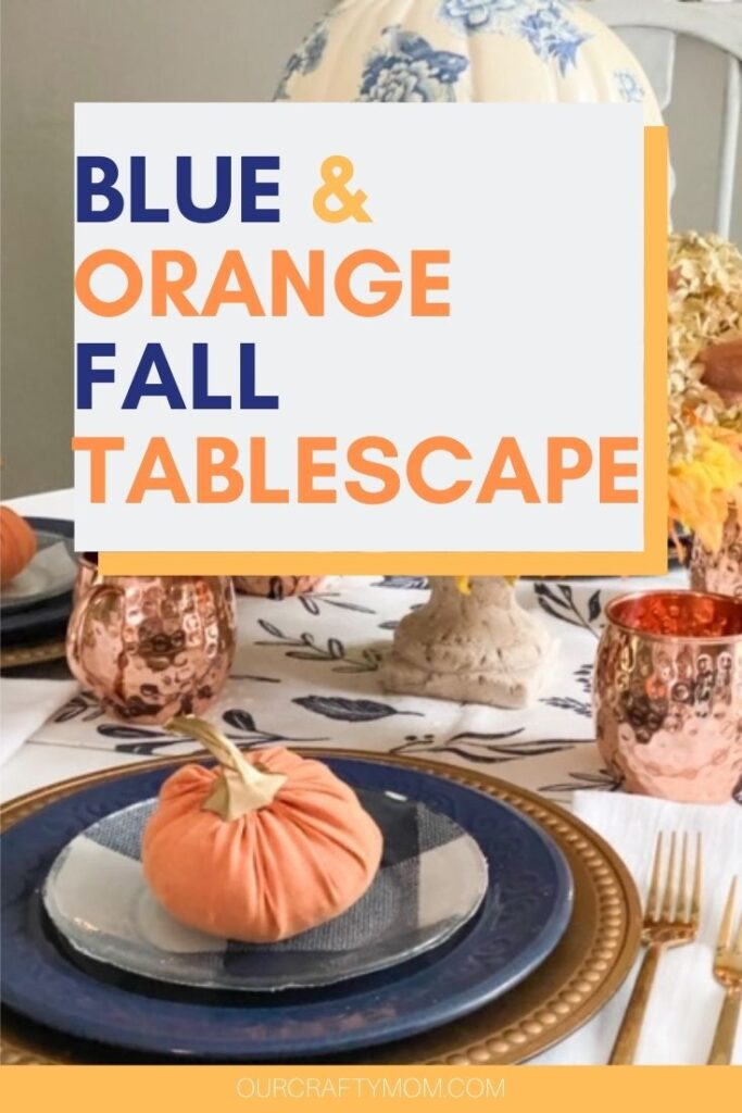 fall tablescape ideas in blue and orange