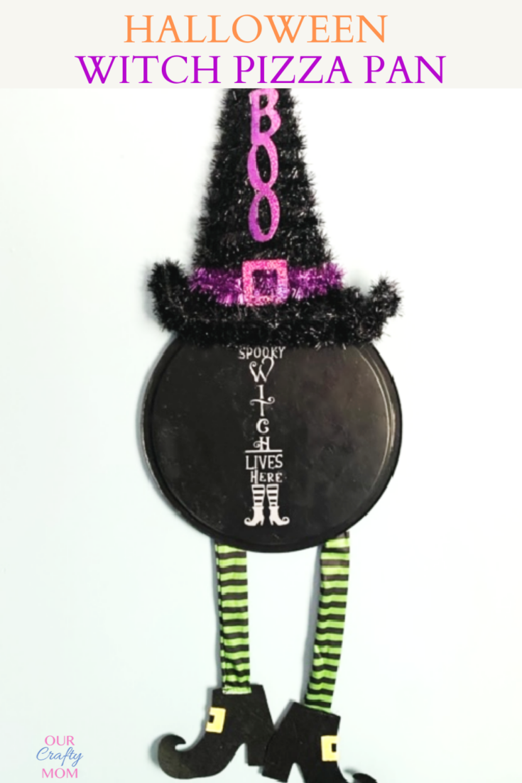 Make A Fun Halloween Witch Door Hanger From A Pizza Pan