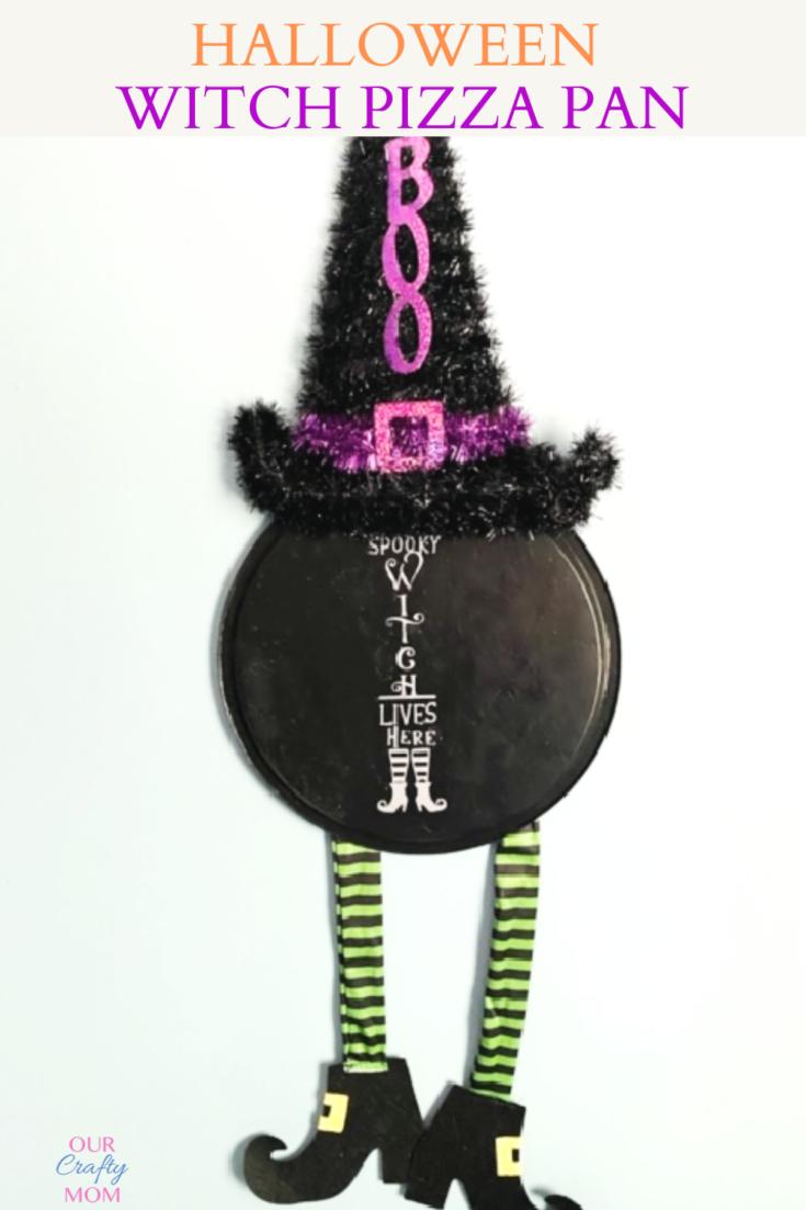 Halloween Witch Door Hanger From A Pizza Pan