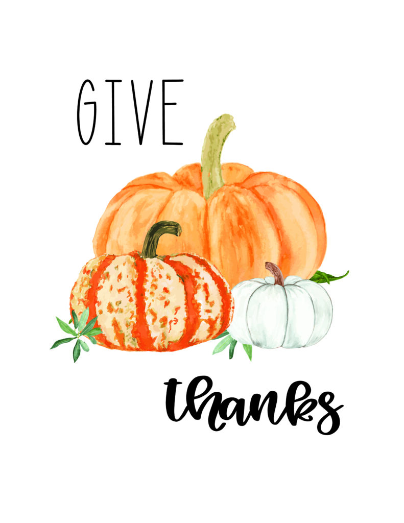 give thanks free fall watercolor printable