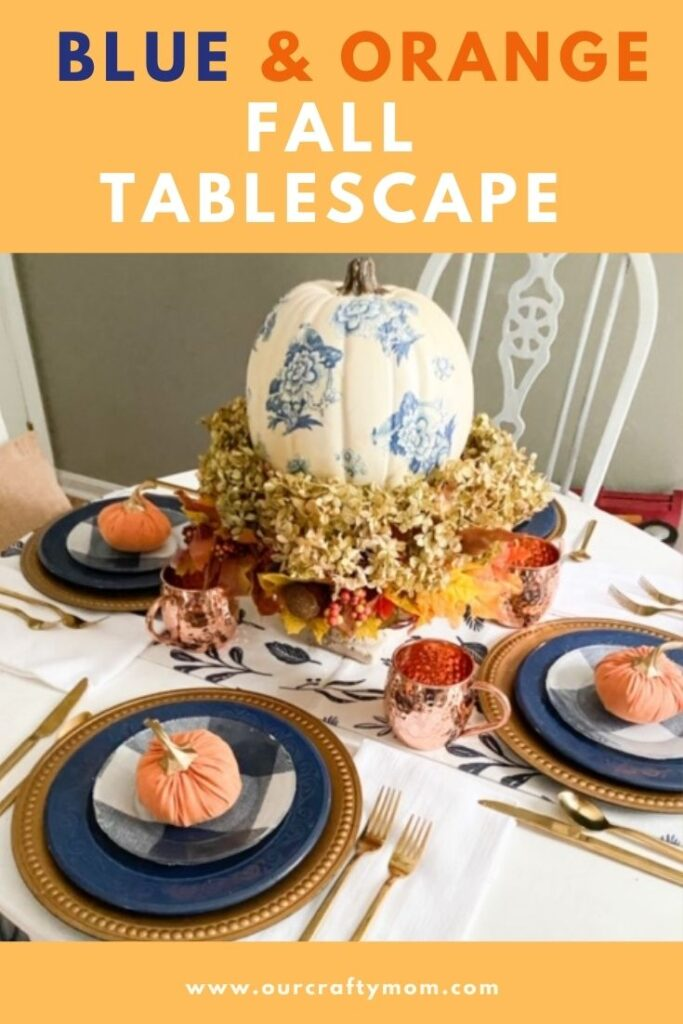 Blue and orange fall tablescape ideas