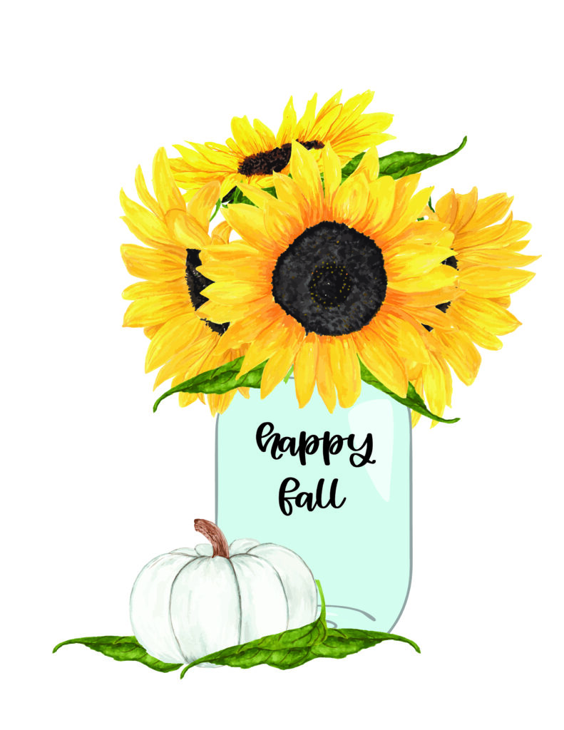 happy fall sunflower free fall watercolor printable