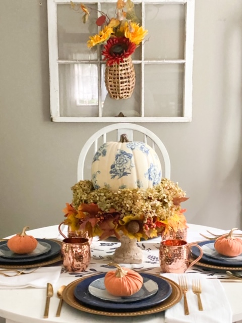 fall tablescape blue and orange